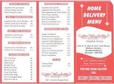 Wangs Kitchen Home Delivery Menu